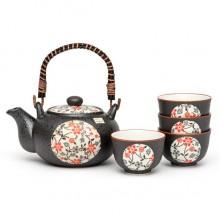 Red Flower Japanese Tea Set